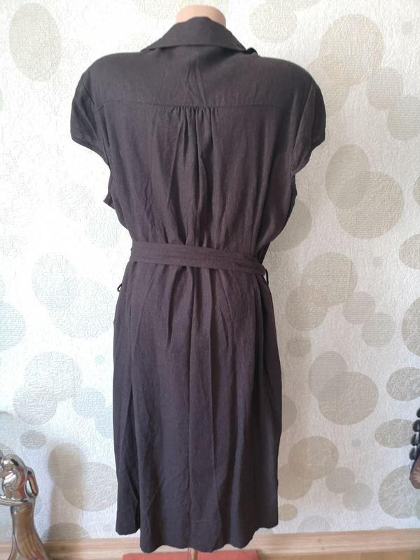 Льняное платье рубашка миди  большого размера - Фото 2