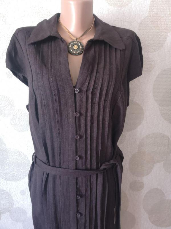 Льняное платье рубашка миди  большого размера - Фото 3