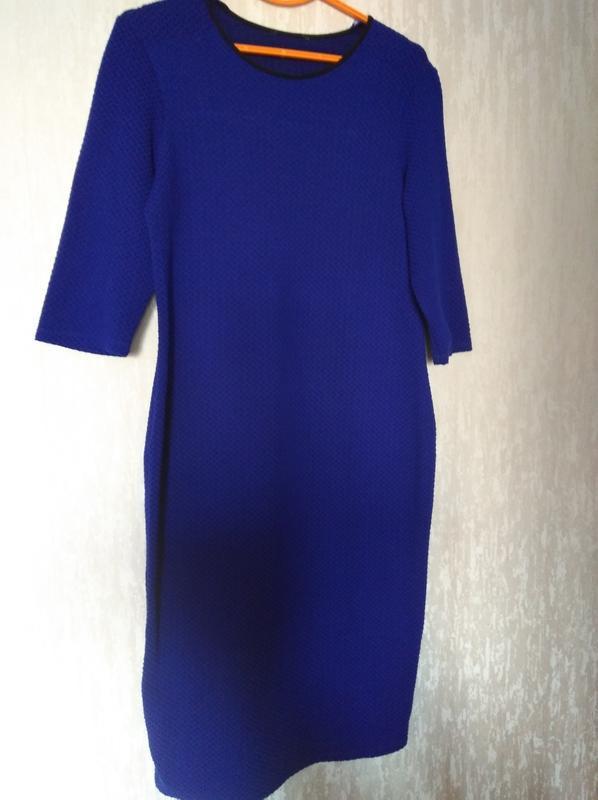 Трикотажное платье синее принт 14-16 размер 46-48 размер