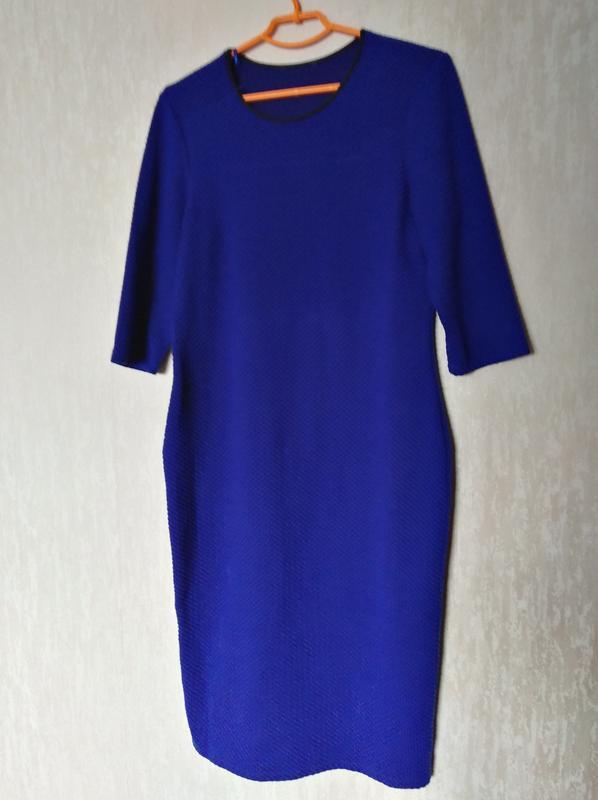 Трикотажное платье синее принт 14-16 размер 46-48 размер - Фото 2