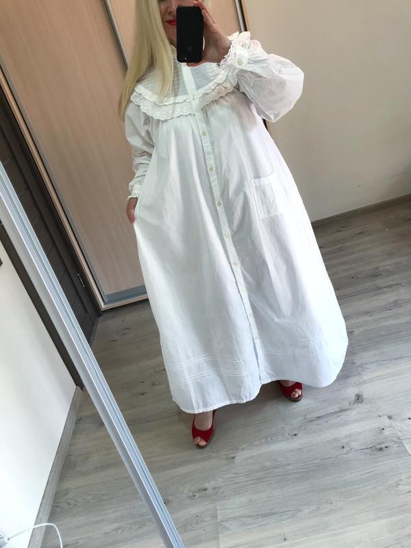 Винтажное хлопковое платье рубашка большой размер - Фото 3