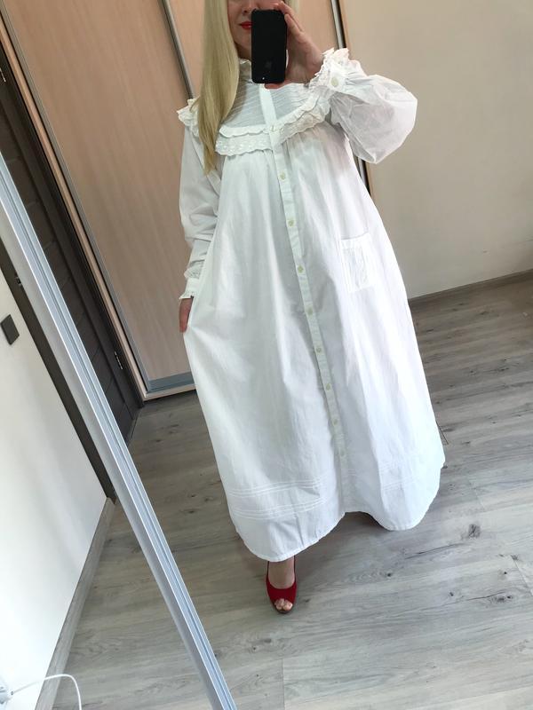 Винтажное хлопковое платье рубашка большой размер - Фото 4