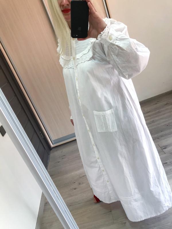 Винтажное хлопковое платье рубашка большой размер - Фото 5