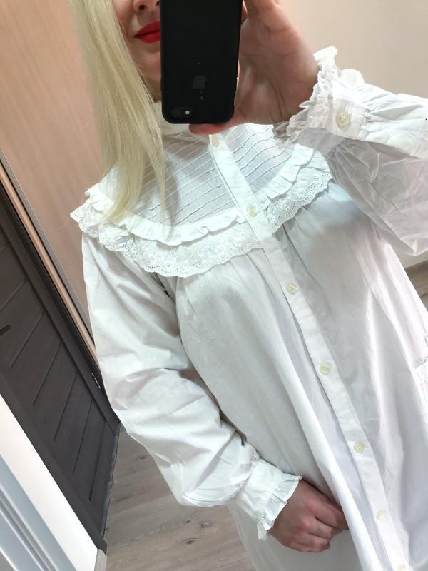 Винтажное хлопковое платье рубашка большой размер - Фото 6