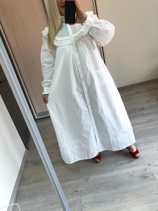 Винтажное хлопковое платье рубашка большой размер - Фото 8