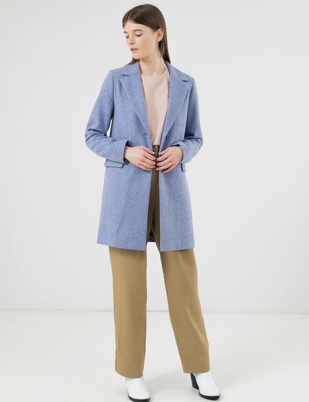 Женское стильное пальто season валери голубого цвета - Фото 3