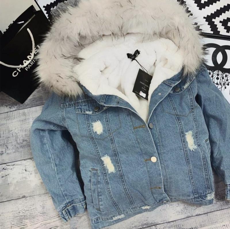 Джинсовая куртка на меху????????джинсовка с капюшоном????полностью мехо...