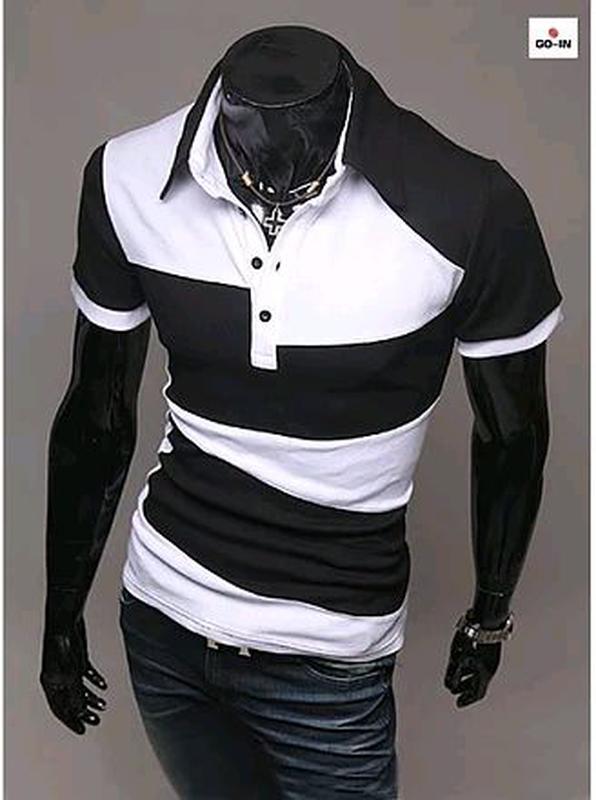 Молодежная футболка поло мужская летняя черно-белая трикотажная