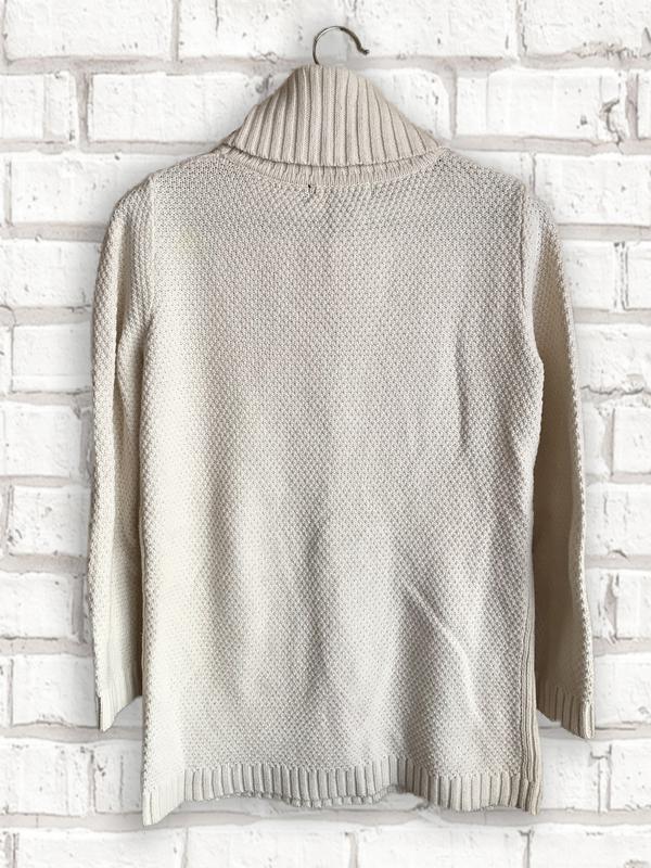 Женский теплый вязаный удлиненный свитер с воротником прямого кро - Фото 2