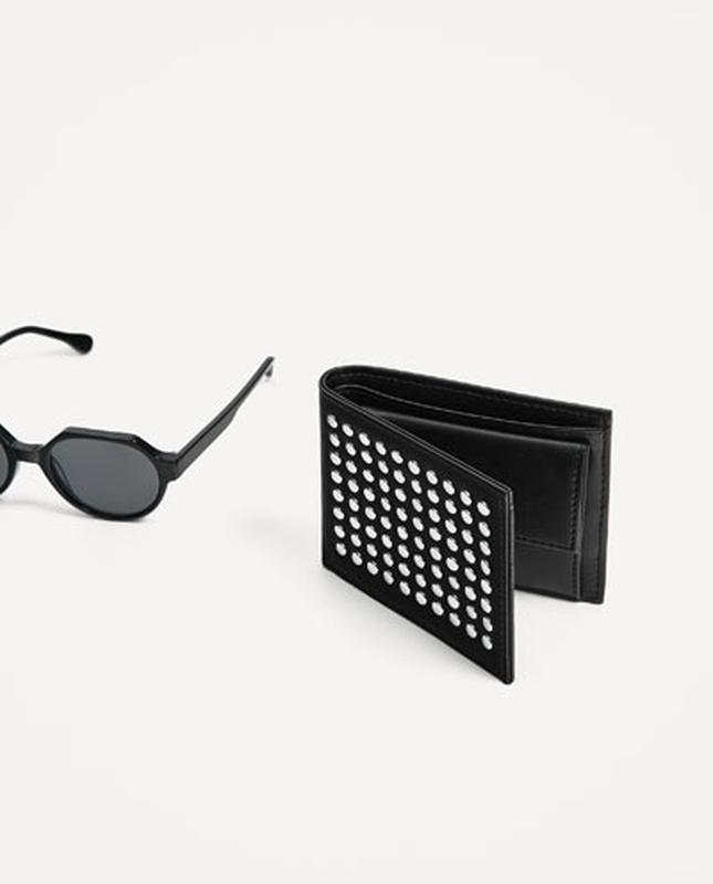 Бумажник с заклепками zara man ! чёрный кошелек
