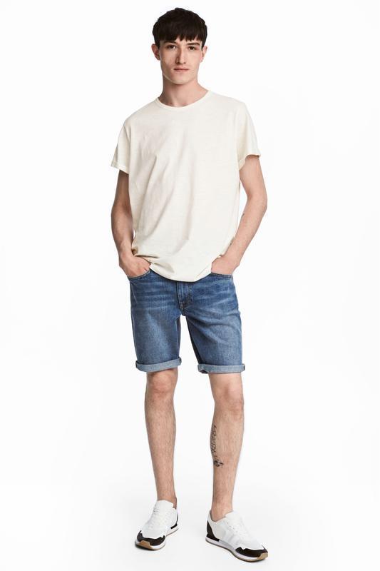 Синие джинсовые шорты h&m , slim fit ! - Фото 2