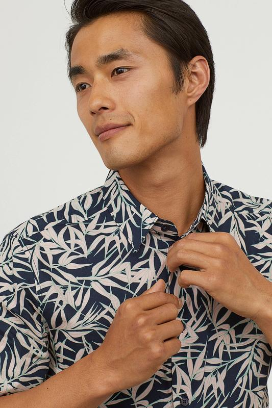 Рубашка h&m floral print , slim fit  !