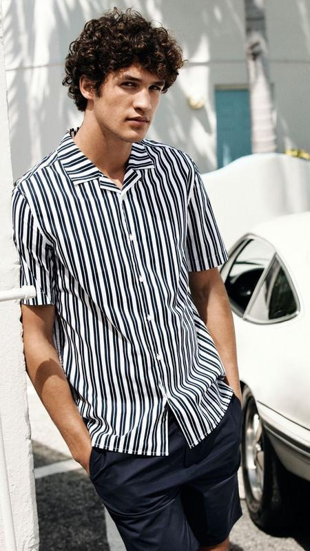 Полосатая рубашка h&m с распашным воротником!