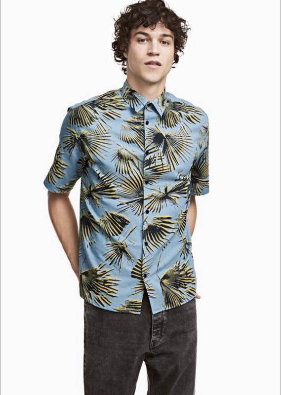 Голубая рубашка h&m из смесового льна !