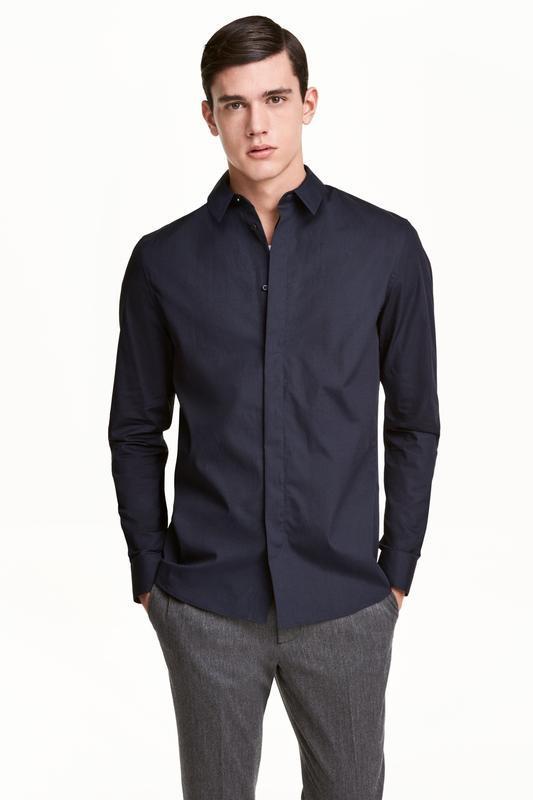 Хлопковая рубашка h&m , slim fit ! темно-синяя
