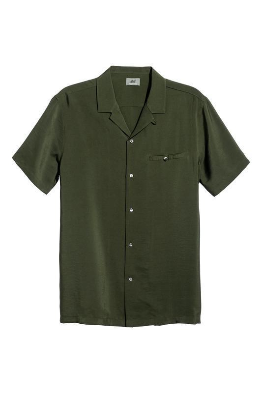 Хаки рубашка h&m из вискозы !