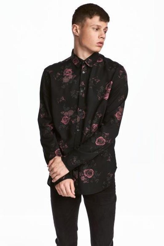 Чёрная рубашка h&m из вискозы !