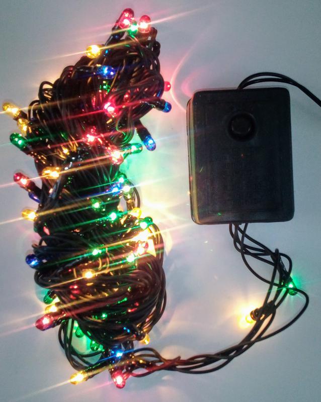 Гирлянда 100 лампочек. Разноцветная 4 цвета 8 режимов. Новая 220В - Фото 2