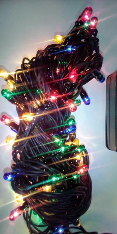 Гирлянда 100 лампочек. Разноцветная 4 цвета 8 режимов. Новая 220В - Фото 4
