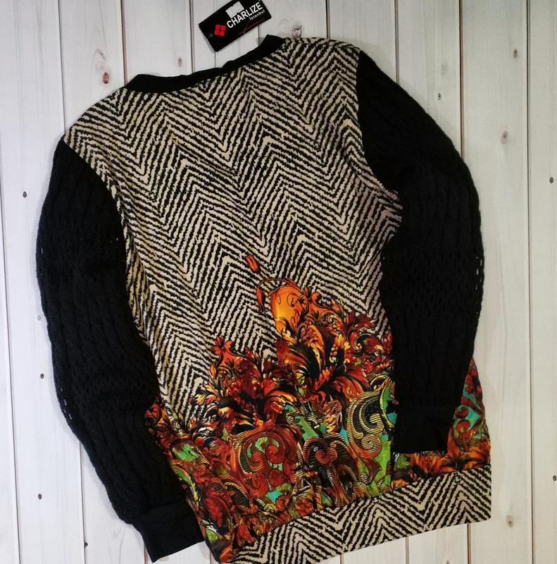 Женский свитер,блуза с оригинальным принтом и стразами с вязан... - Фото 3
