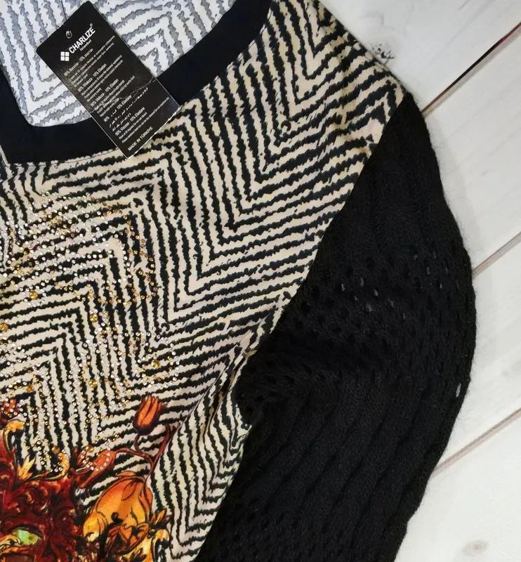 Женский свитер,блуза с оригинальным принтом и стразами с вязан... - Фото 4
