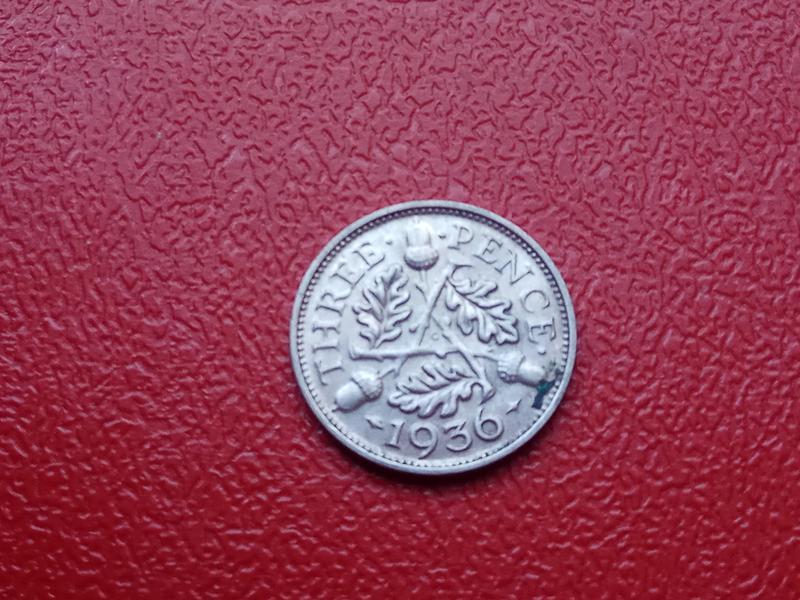 Великобритания. 3 пенса 1935 г. Георг V. Серебро 500 .Оригинал