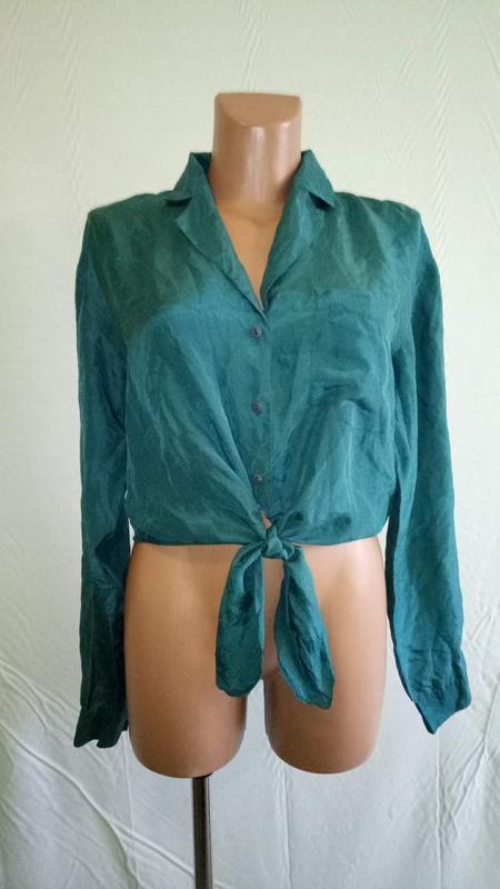 Рубашка блуза шелковая с завязками, р. 44-46.