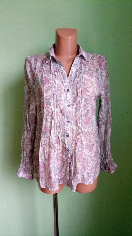 Блуза блузка рубашка nymphaea alba, р. 46. шелк и хлопок