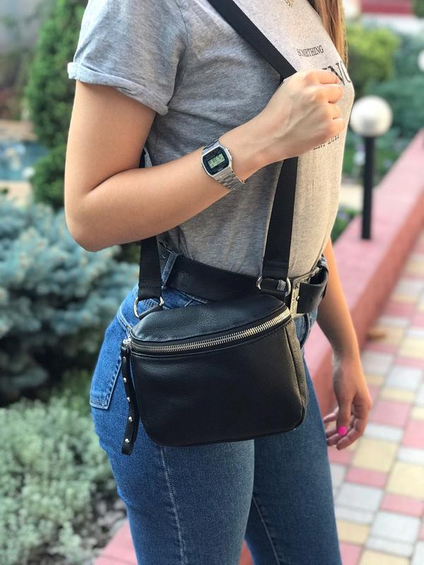 Женская кожаная сумка polina & eiterou через плечо поясная - Фото 2