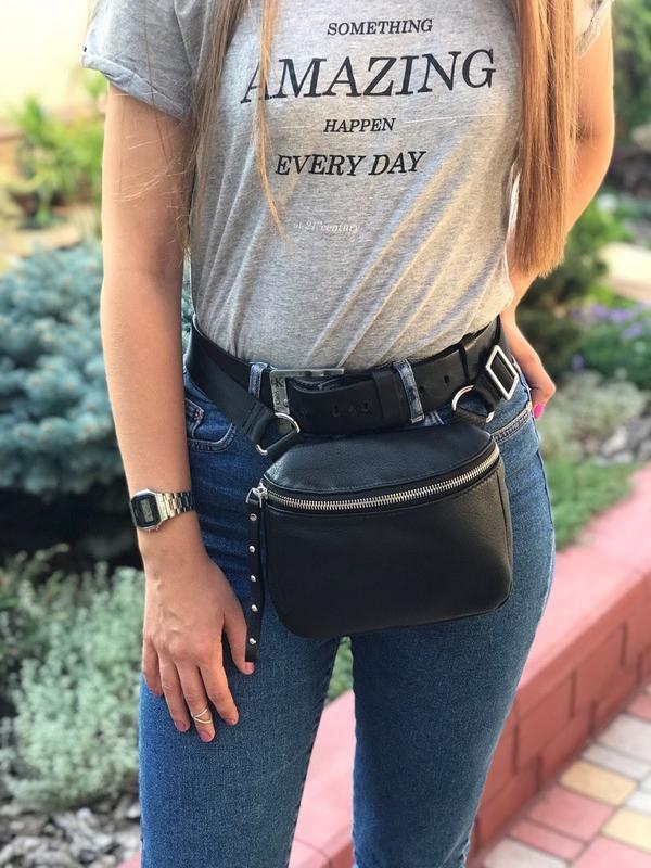 Женская кожаная сумка polina & eiterou через плечо поясная - Фото 3