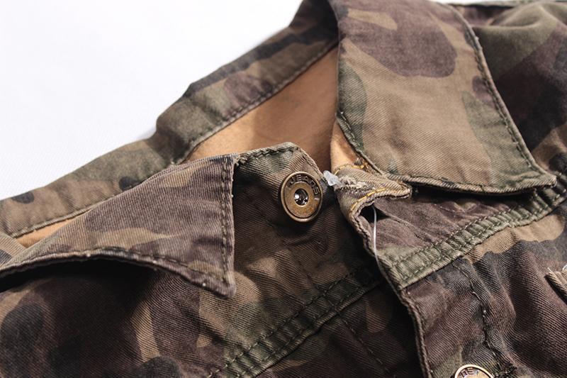 Мужская джинсовая куртка хаки - Фото 3