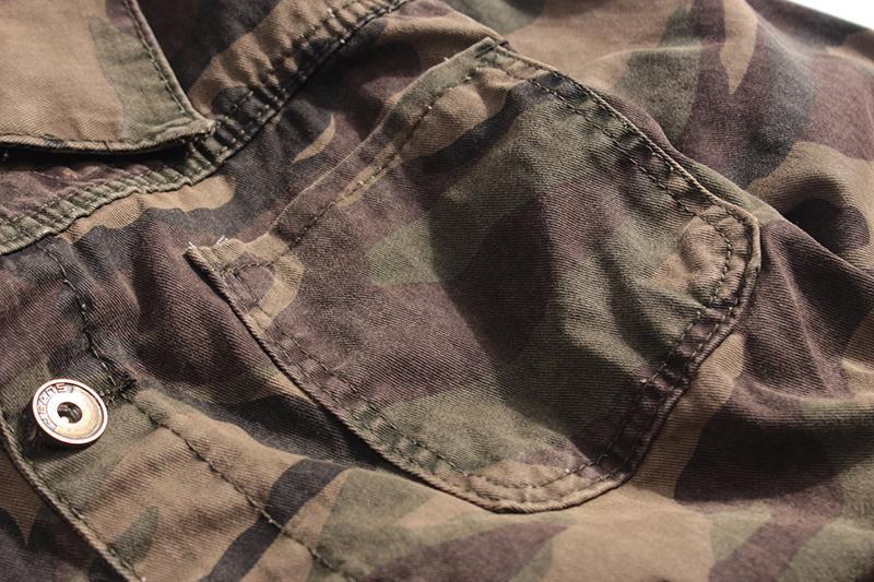 Мужская джинсовая куртка хаки - Фото 5
