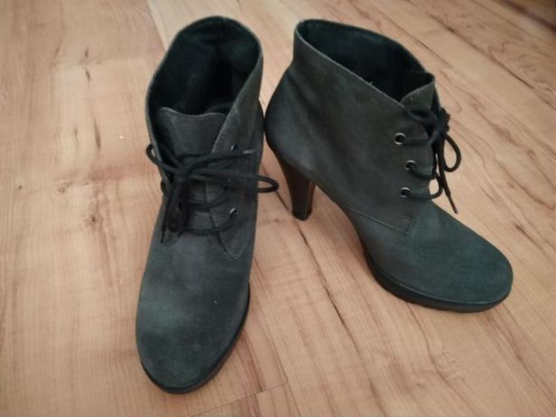Ботиночки замшевые, туфли на каблуке