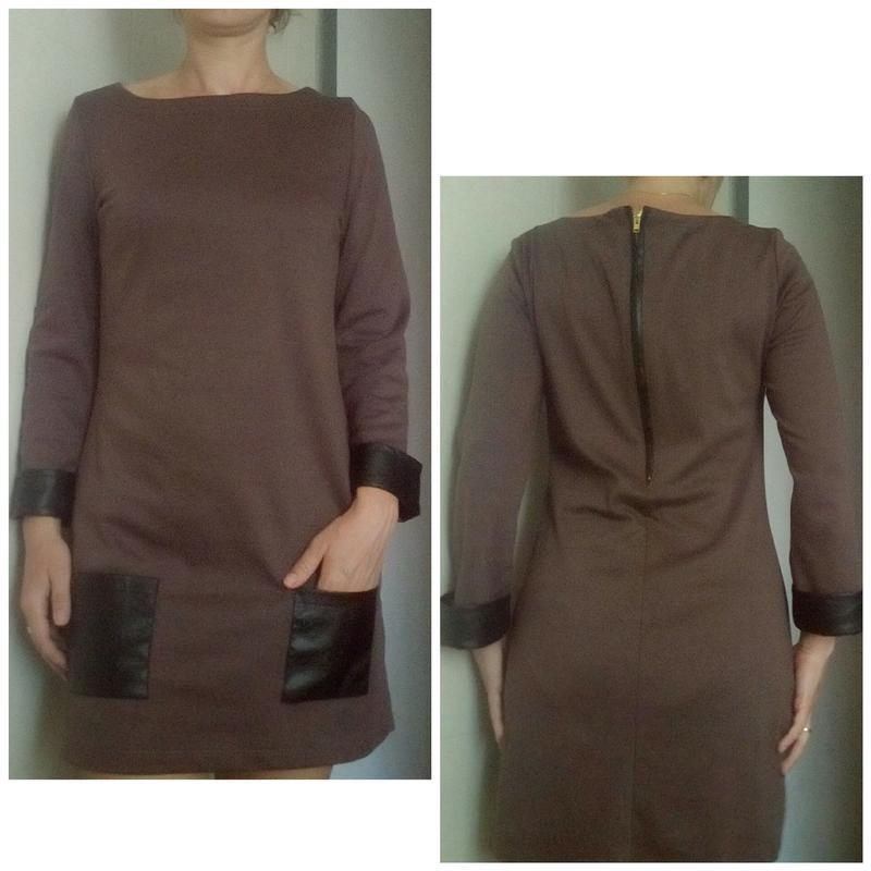 Стильное платье с кожаными вставками