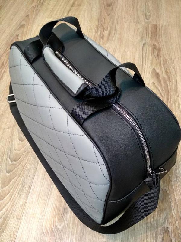 Серая сумка 👜 ручной работы shopper - Фото 2