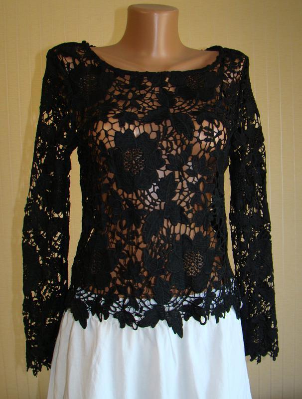 Блузка женская черная гипюровая кружевная h&m