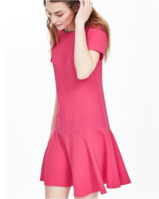 "Платье розовое c воланом новое ""Banana Republic"" размер 4  (36/S)"