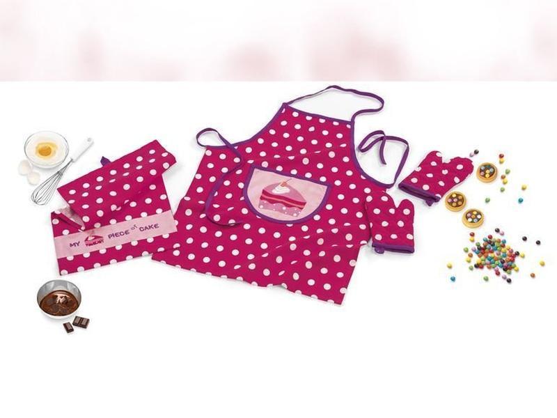 Детский кухонный комплект фартук, 2 полотенца, жаропрочная рук...