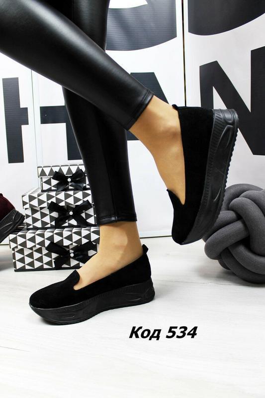 Модные женские кожаные туфли на платформе, натуральный замш, р.40 - Фото 2