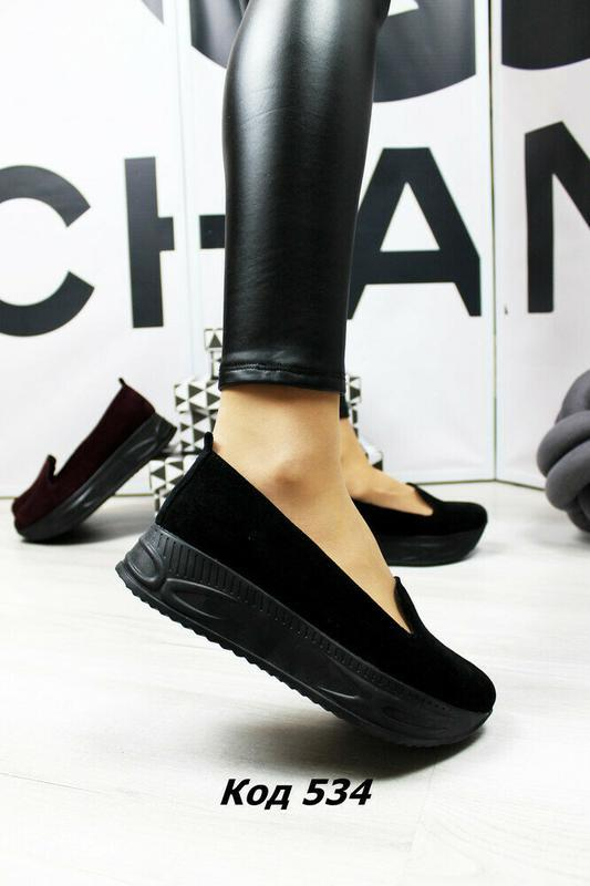 Модные женские кожаные туфли на платформе, натуральный замш, р.40 - Фото 4