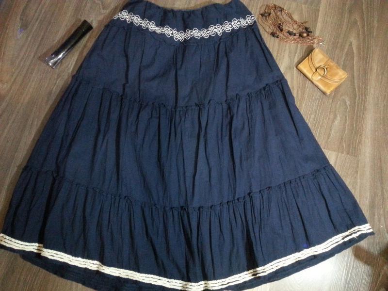 Длинная хлопковая юбка на подкладке