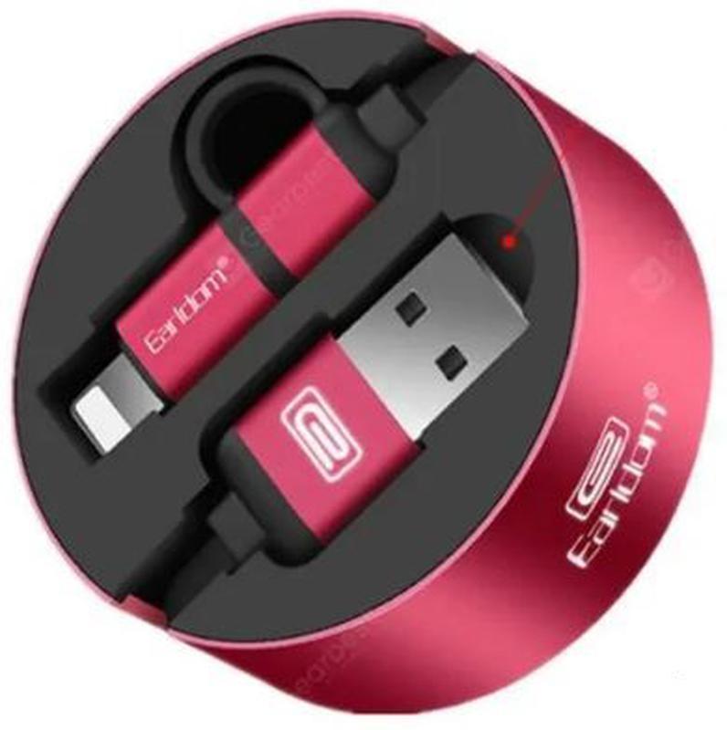 USB кабель рулетка 2 в 1 Earldom = lightning (iPhone) + micro-USB