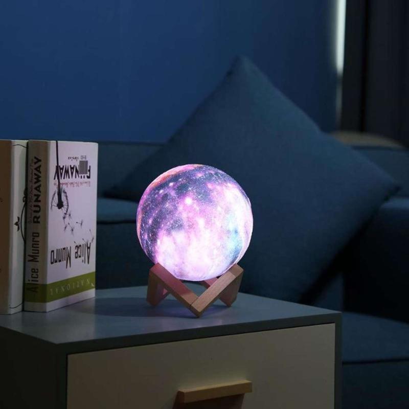 Дизайнерская, яркая Сенсорная лампа ночник 3D космос 18см. - Фото 5