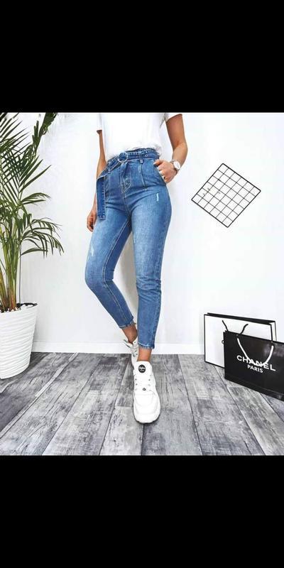 Новые джинсы с поясом мом