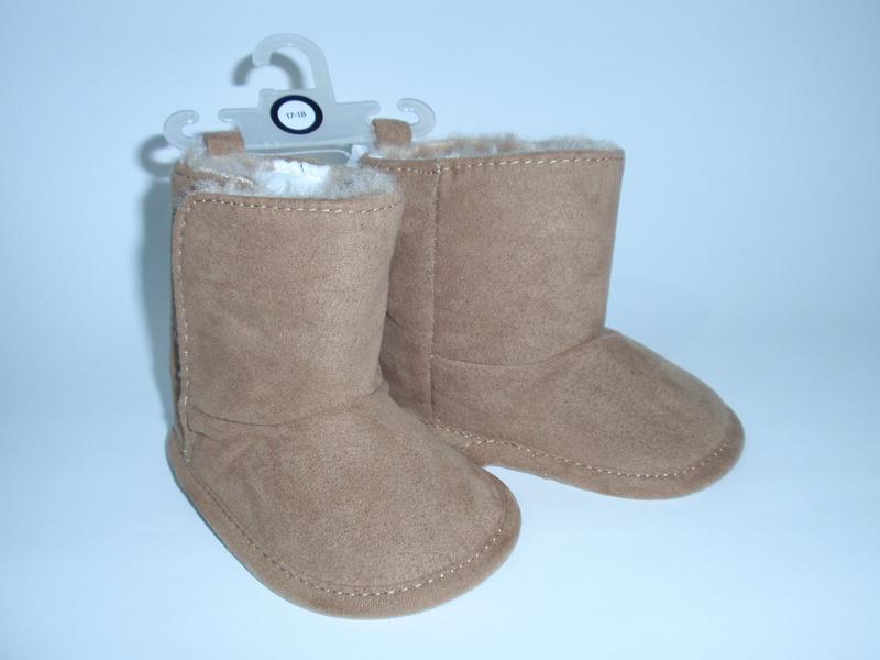 Красивые теплые пинетки ботиночки на меху бренд c&a германия р...