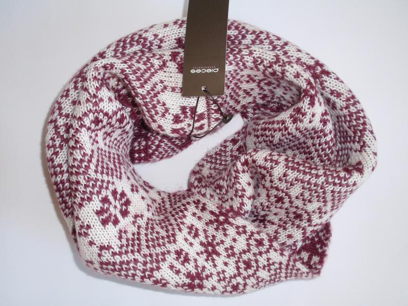Теплый красивый вязаный снуд шарф хомут бренд pieces - дания