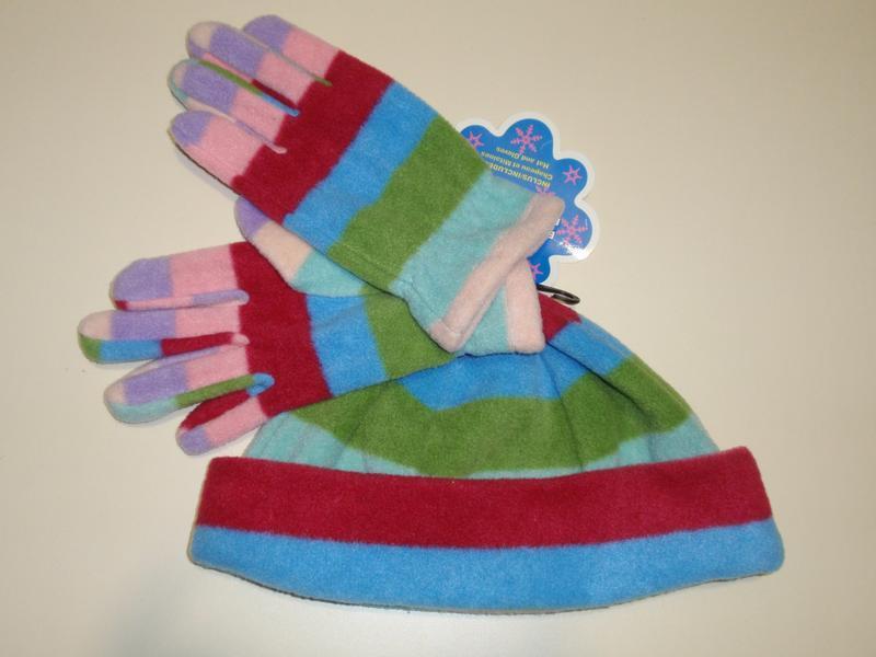 Комплект для девочки флисовая шапка и перчатки р. 7-14 лет