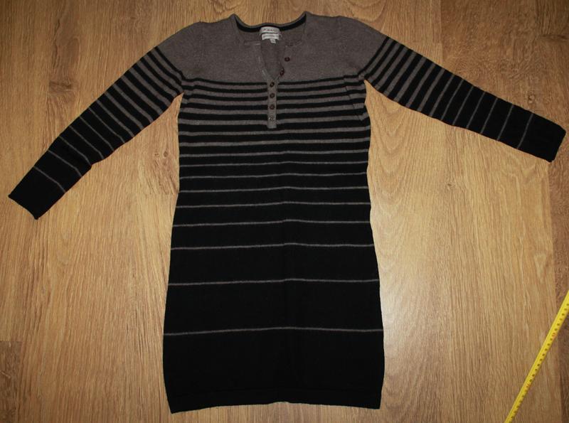 Шерстяное платье длинный свитер в полоску kew британия 32р. 10...