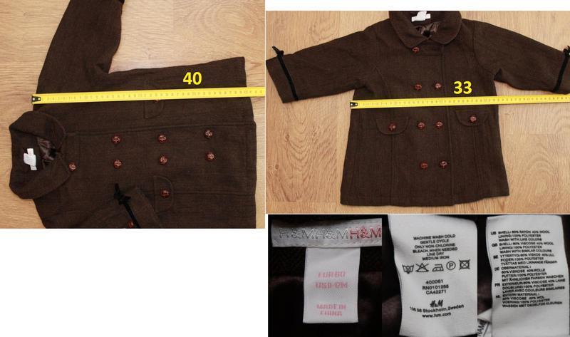 Пальто демисезонное в английском стиле h&m на 9-12 мес. шерсть... - Фото 2