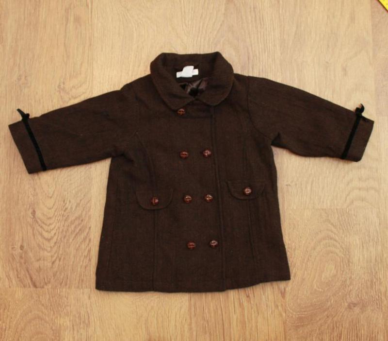 Пальто демисезонное в английском стиле h&m на 9-12 мес. шерсть... - Фото 3